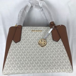 NWT Michael Kors Vanilla Kimberly LG Satchel Bag